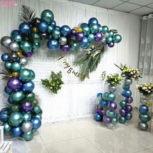 QIFU globos Metallic Balloon Silver Blue Metal Pearl Latex Colorful Baloon birthday balloons Arch Wedding Party Decor