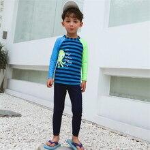 New Model Boys Rash Guards Two Pieces Swimsuit Boy Striped Swimwear 4-10 Y Children Swimming Wear Swim Cap Suit Bathing Suits