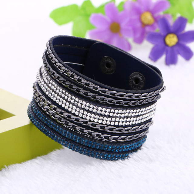 Leather Bracelet Charm Bracelets Bangles For Women Buttons
