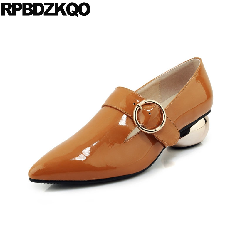 pointed toe size 33 handmade metal patent leather 2019 ladies genuine thick fashion shoes brand medium heels yellow customizedpointed toe size 33 handmade metal patent leather 2019 ladies genuine thick fashion shoes brand medium heels yellow customized