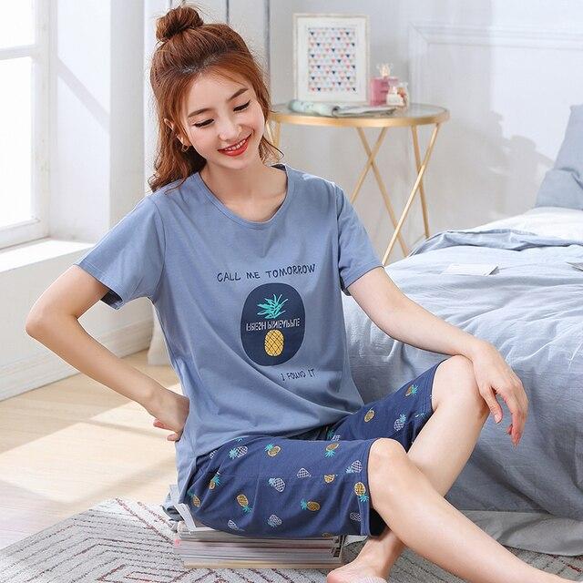큰 사이즈 xxl 3xl 4xl 5xl 여름 잠옷 코튼 홈 짧은 소매 여성 잠옷 얇은 잠옷 여성 바지 여성 캐주얼 레이디 홈