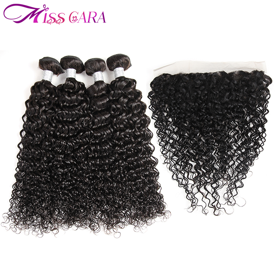 Malaysian Water Wave 100% Human Hair 3/4 Bundles With Closure 13*4 Lace Frontal Closure With Bundles Miss Cara non Remy Hair