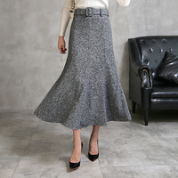 Free Shipping 2018 New Wool Fashion Women Skirt Casual A line Long Mid calf Winter And Autumn Plus Size S 2XL Skirts With Belt