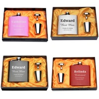 Set Of Personalized Engraved 6oz Hip Flask Stainless Steel Wedding Flask Set Gift Box Bride S