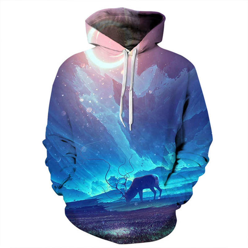 Galaxy Unisex Oversize Pullover Women Men Hooded Hoodies 3D Sweatshirts Print Long Harn Deer Autumn Winter Thin Hoody Tracksuits