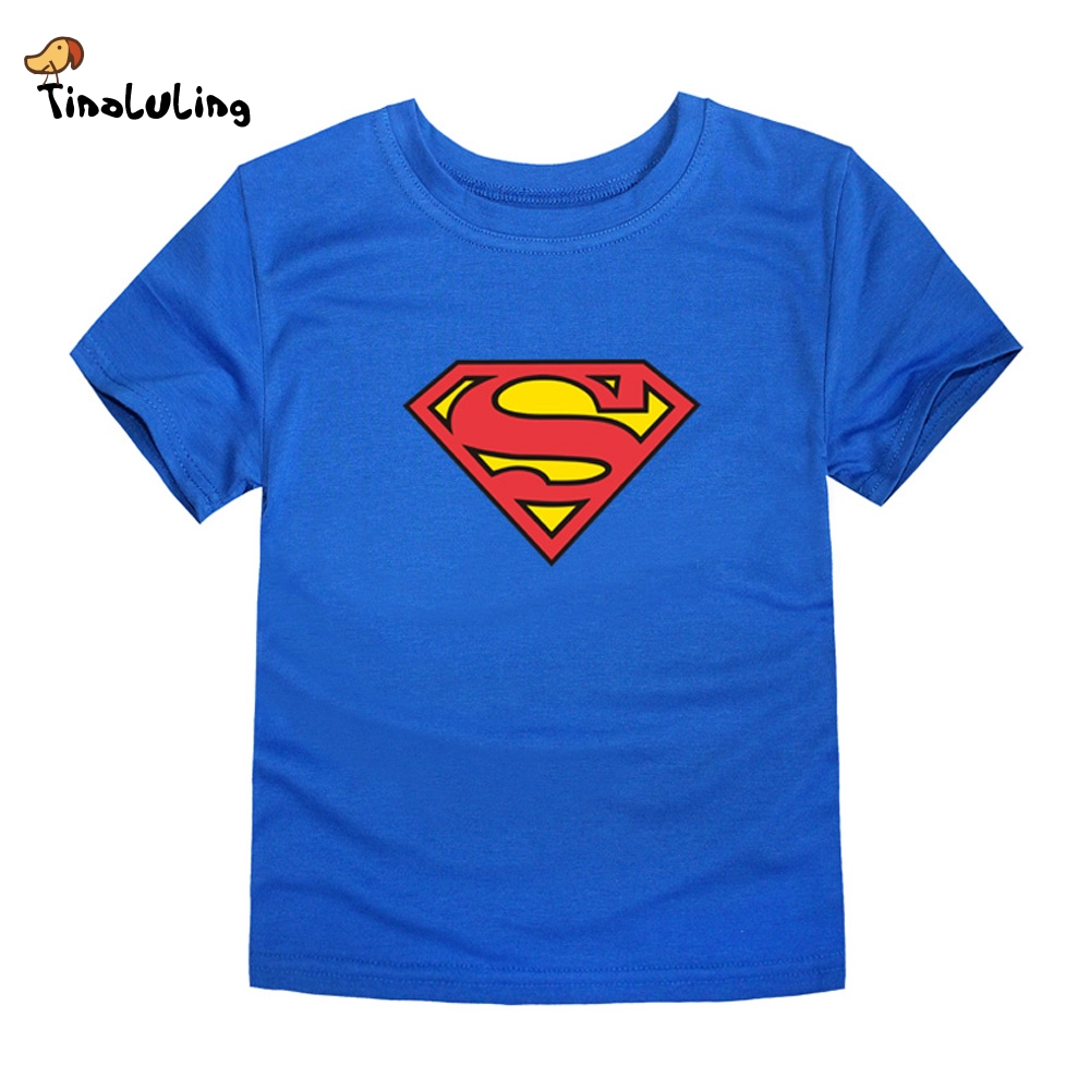 TINOLULING 2018 Kids Superman T-Shirt Boys Girls Batman T Shirt Children Tops Baby Tees For 2-14 Years