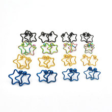 Popular Piercing Jewelry New Stainless Steel Electroplated Coloured Pentagonal Star Ear Nail Ear Button 1Pc(China)