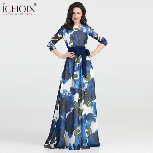 e40621e3c53 2018 Autumn Long Dress Female Winter Boho Print Floor Length Dress Style  Elegant Evening Party Maxi