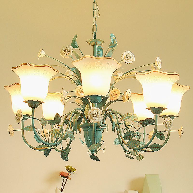 Blue Idyllic Style Crystal Chandelier Lighting Nordic Retro Living Room For Chandeliers Children S Bedroom
