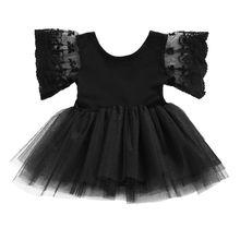 Летняя детская одежда для маленьких девочек, черный кружевной боди-пачка, топы с короткими рукавами, милый комбинезон, боди, одежда
