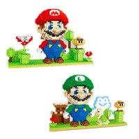 Super Mario Bros. Building Blocks DIY Construction Toys Cute Cartoon Action Figures Figure Model Building Blocks Game Kid Gift