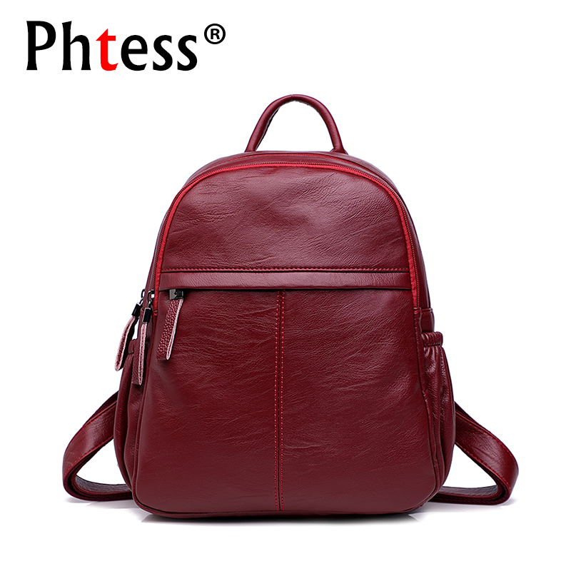 2018 Women Leather Backpacks Vintage Female Travel Shoulder Bags Sac a Dos Ladies Bagpack Casual Daypacks Rucksacks For Girls faux leather fashion women backpacks vintage casual daypacks shoulder bags travel bag free shipping