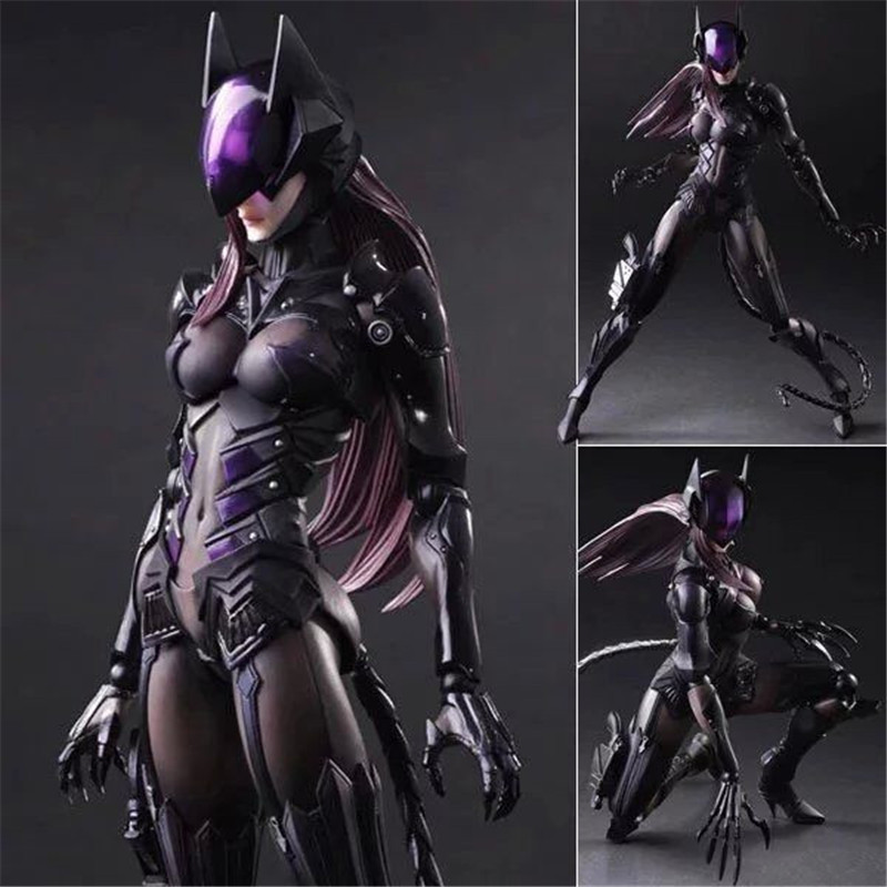 Catwoman Action Figure Playarts Kai Model Anime Toys Movie Bat Man Play Arts Kai Catwoman 25 CM Cartoon Gifts For Children L1081 steampunk batman play arts kai action figure pvc toys 280mm anime movie model steampunk bat man playarts kai christmas gift