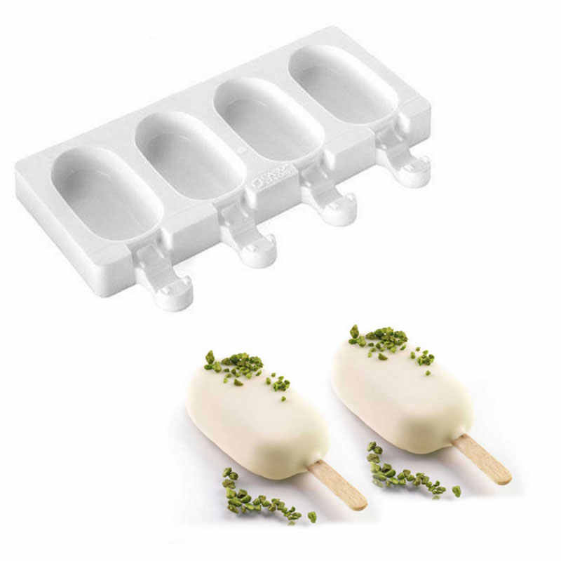 Silicone Ice Cream Mold Frozen Ice Lolly Maker Mould Tray DIY Juice Popsicle ~