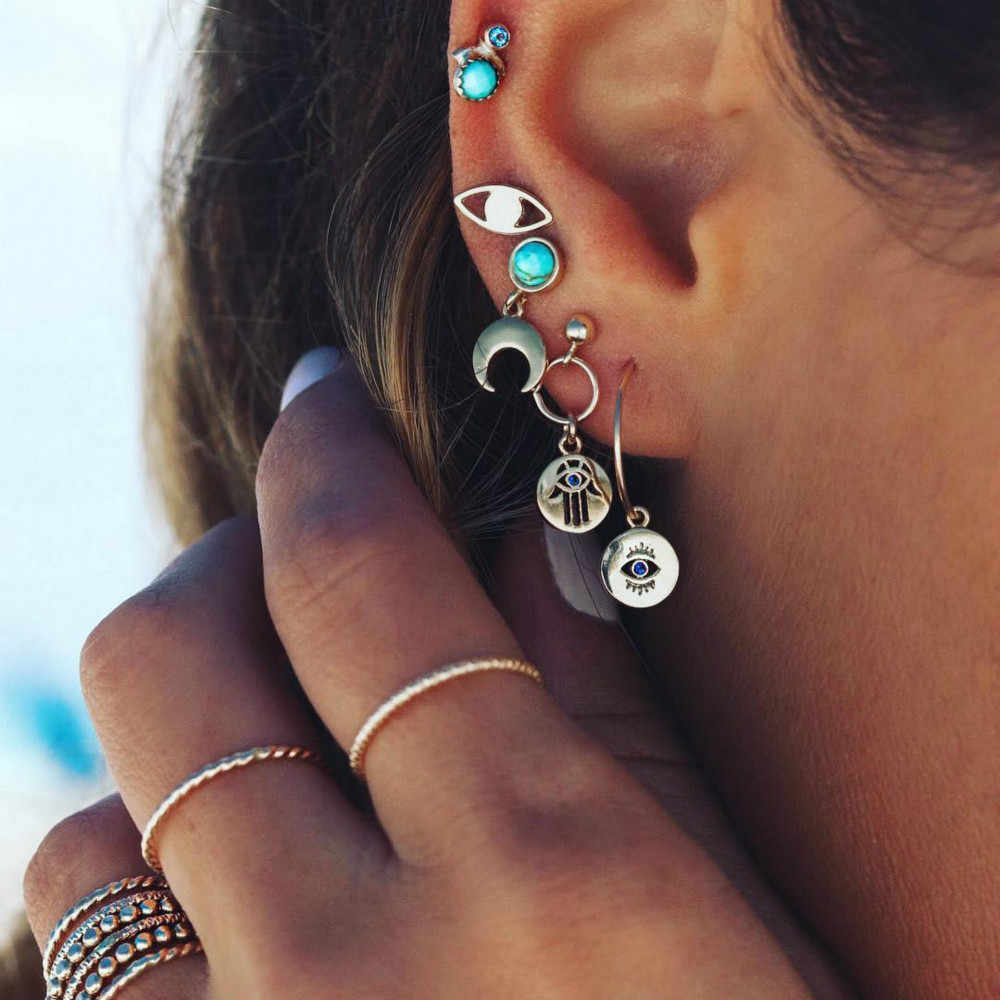 European and American Bohemian pop personality palm eyes moon stud earrings five sets