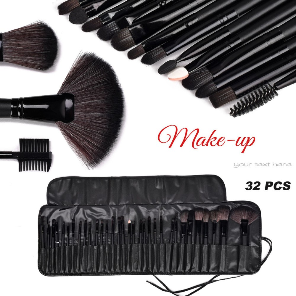 Professional 32 pcs Pro Black Soft Cosmetic Eyebrow Shadow Makeup Brush Set Kit Pouch CaseProfessional 32 pcs Pro Black Soft Cosmetic Eyebrow Shadow Makeup Brush Set Kit Pouch Case