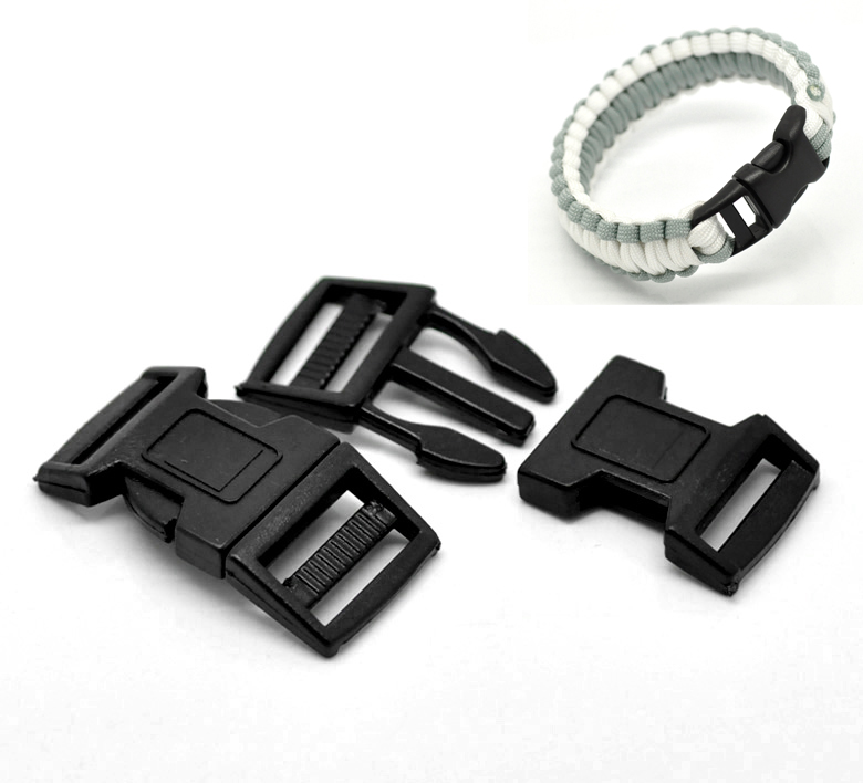 7 Sets Black Curved Survival Bracelet Plastic Buckle 5.1x2.6cm(2