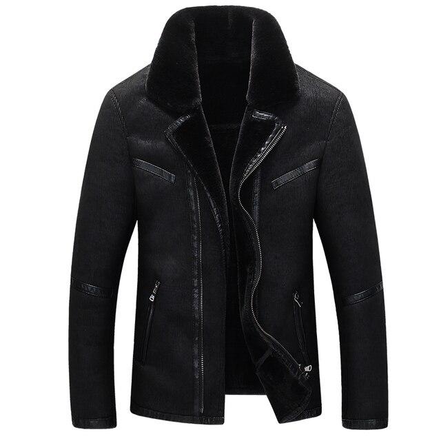 2016 nueva llegada del invierno caliente de alta calidad de Gamuza abrigo de piel de los hombres, chaqueta ocasional de los hombres, Forro grueso abrigo de los hombres asiático tamaño L-XXXXL