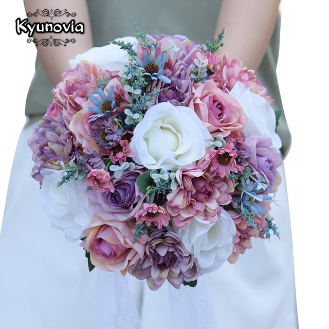Kyunovia Plain Color Bridal Bouquet Wedding Centerpieces Blush Pink ...