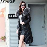 AYUNSUE Winter Genuine Leather Jacket Women Duck Down Jacket Female Fox Fur Collar Plus Size Long Coat Sheepskin Jackets KJ585