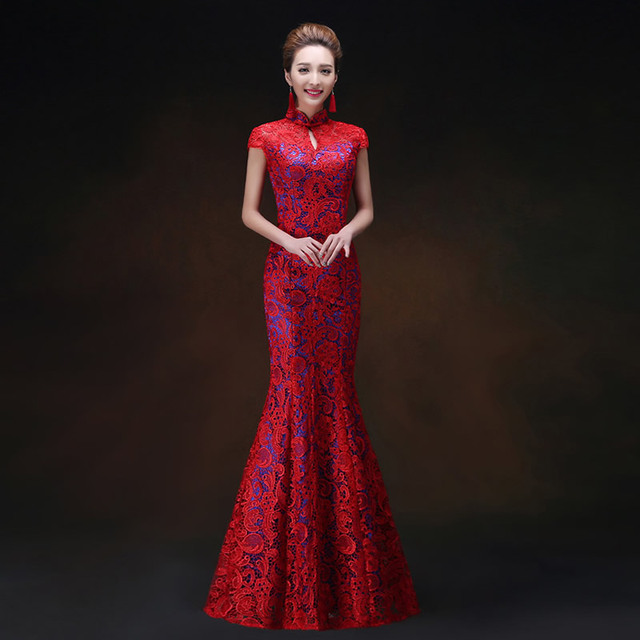 602fe0b9e Backless Sexy Evening Dress Red Mermaid Cheongsam Elegant Chinese Wedding  Qipao Women Oriental Style Party Dresses Vintage