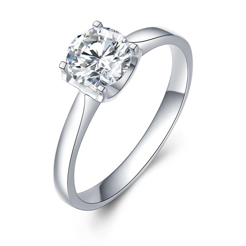JIASHUNTAI Soild 14 K blanc 1Ct Moissanites diamant anneaux Soild 585 or bagues de mariage pour femmes bijoux fins