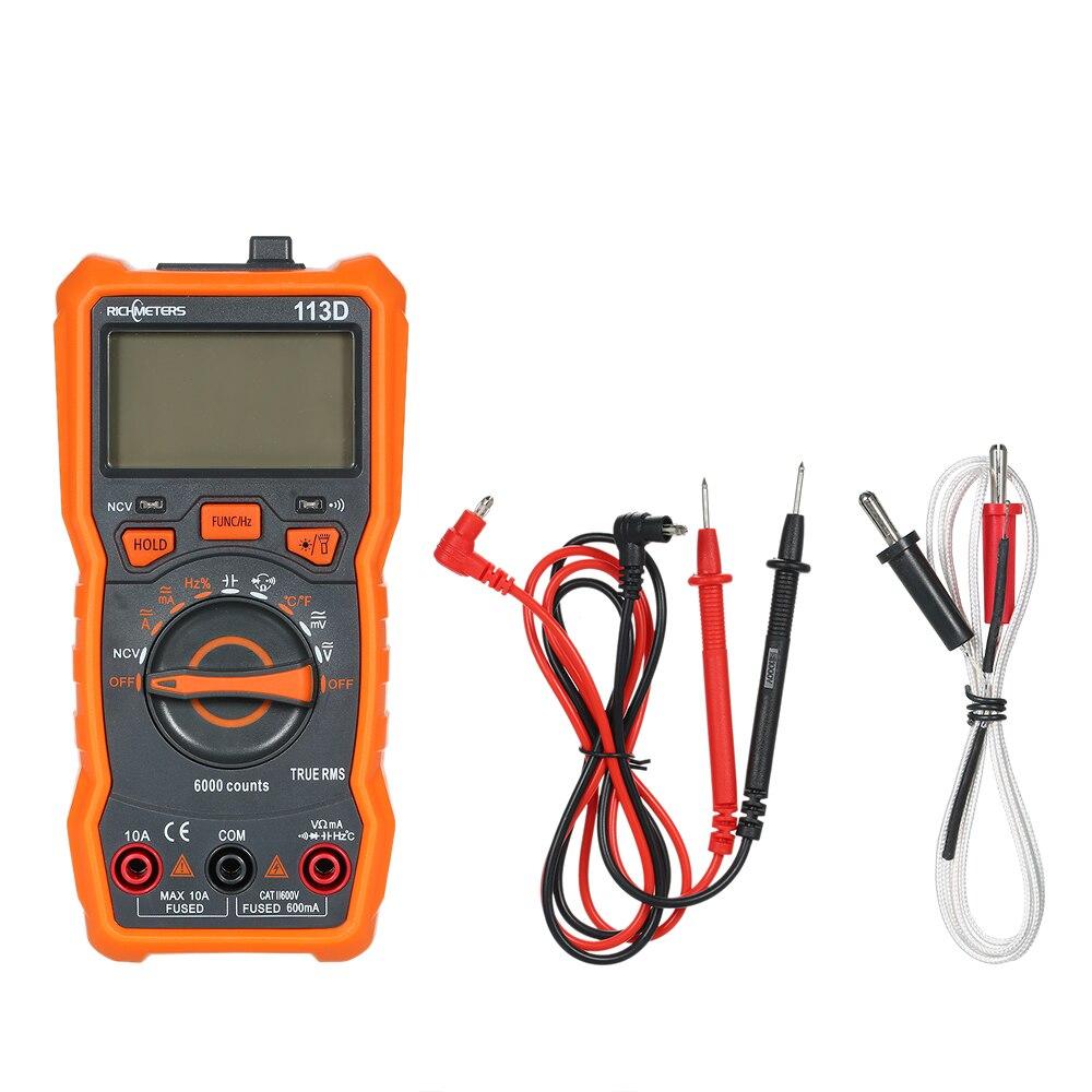 RICHMETERS RM113D NCV Multimetro Digitale 6000 Conta Auto Ranging AC/DC Tensione di Temperatura Metro Di Misura Retroilluminazione