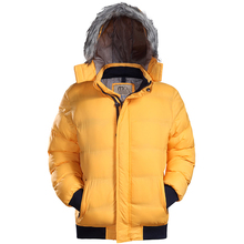 males down jacket 2017 winter/autumn male fur collar hooded heat parka informal wool cotton Solid coat outerwear clothes