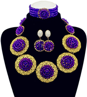 Handmade Popular Purple Beads Bridal Jewelry Sets New Nigerian Wedding African Beads Jewelry Set Crystal Free Shipping ABF727