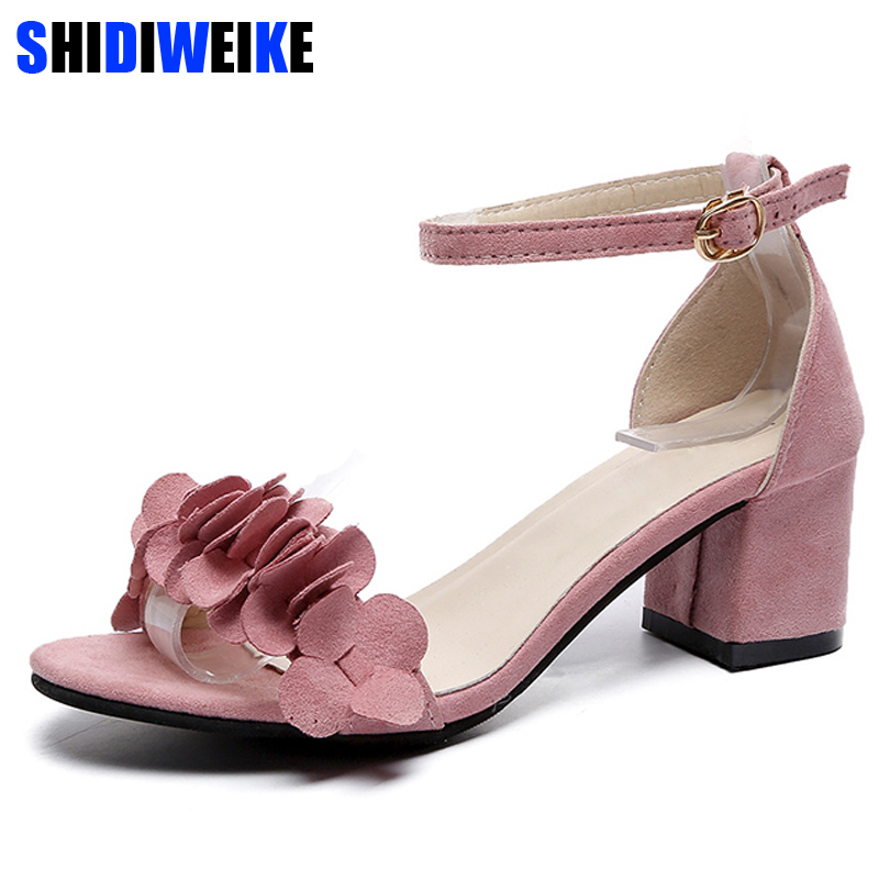 2019 Summer Sandals Women Open Toe Woman shoes Flowers Sweet Style Flock Shoes For Lady Size Plus 34-40 m669