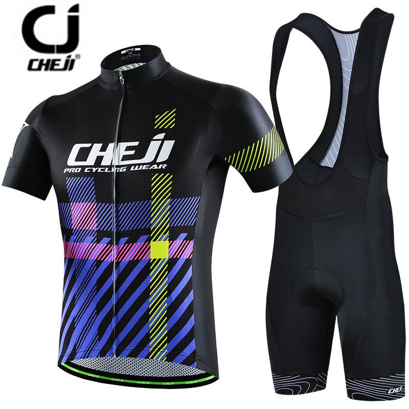 CHEJI Purple Black Cycling Jersey Set Bike clothing Ropa Ciclismo MTB bicycle jersey Padded Bib Shorts suit Riding Shirt Maillot cheji bicycle cycling water resistant lycra warm shoes cover black white size 42