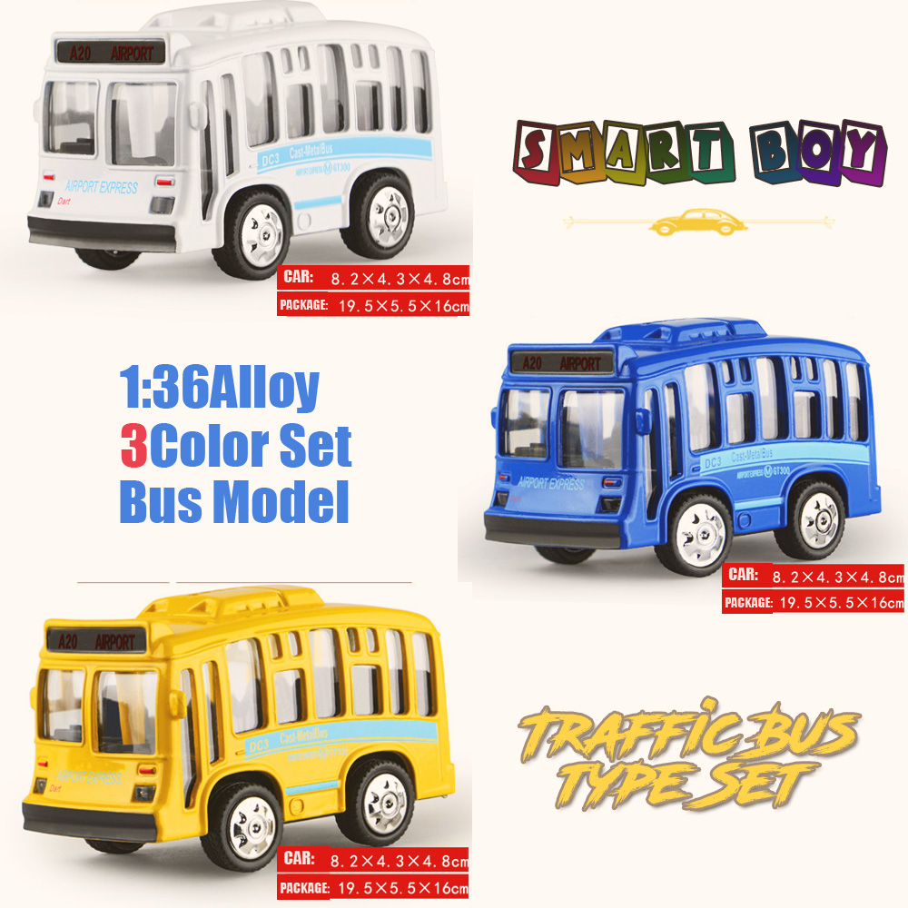 1:36 Alloy Toy Vehicles all 3color Set Traffic Bus Model Alloy Lighting sound Toy Metal Car Toy Model Mini Pull Back bus