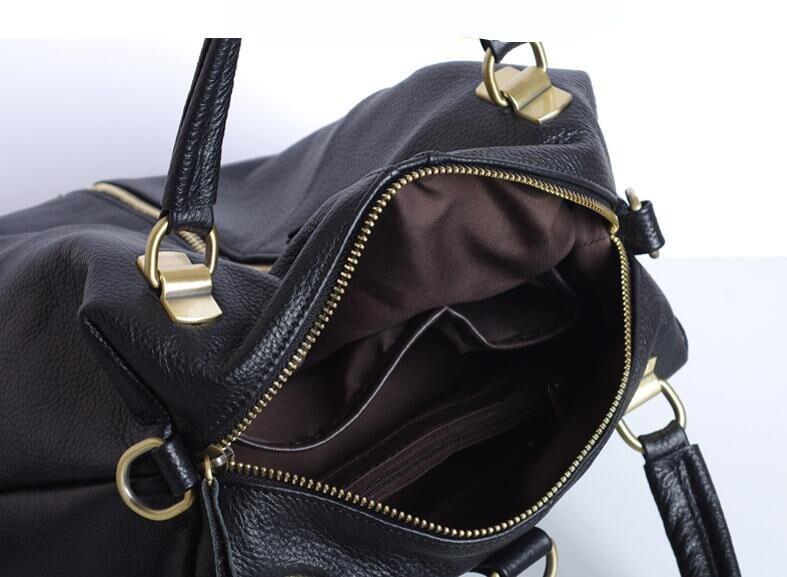 Solide echtes leder kuh haut frauen rucksack große kapazität zip tasche-in Rucksäcke aus Gepäck & Taschen bei  Gruppe 3