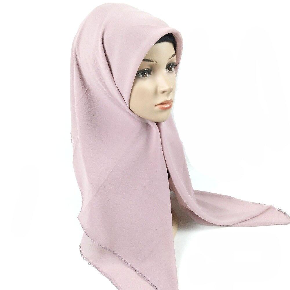 chiffon 115*115 centímetros envoltório hijab mulheres xales