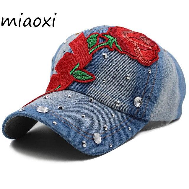 99539238dfb miaoxi Shop Women Rose Baseball Cap For Women s Summer Adult Floral  Adjustable Cowboy Hat Female Beauty Snapback Hip Hop Bonnet
