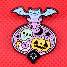 Midnight magic potion fles emaille pin bat pompoen broche leuke pastel pins Goth ghost badge Halloween sieraden gift(China)
