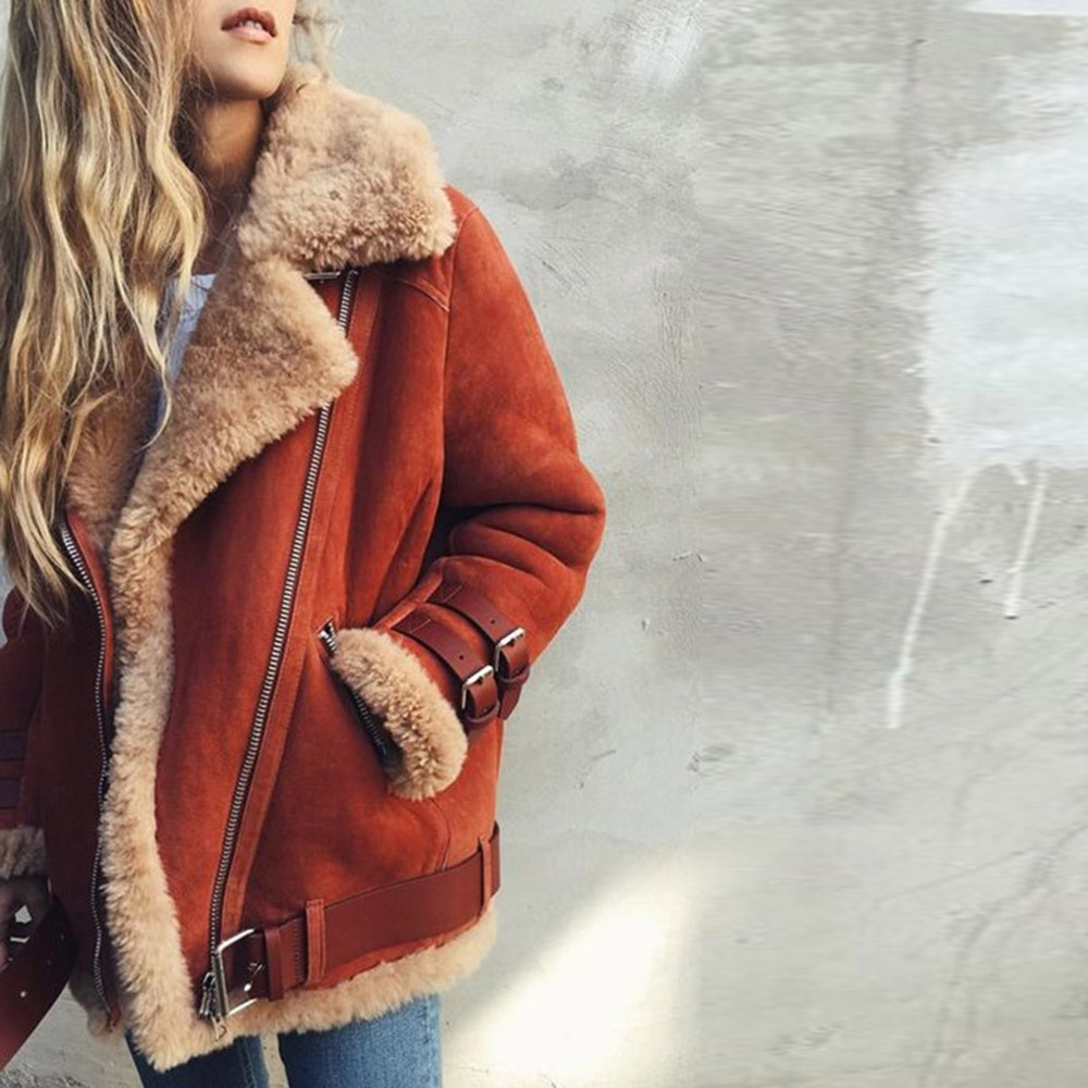 Basic Jackets Glorious Winter Coat Suede Leather Faux Fur Jacket Women Plus Size 5xl Hot Fashion Thicken Warm Zipper Motorcycle Jackets Casual Overcoat To Be Distributed All Over The World