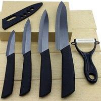 5pcs Kitchen Zirconia Ceramic Knives Cooking Set 3 4 5 6 Inch Peeler Covers Blade Black
