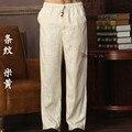 Nova Chegada Calças de Algodão De Linho Kung Fu dos homens Chineses Kung Fu Pant Calças de Tai Chi Wu Shu Calças Tamanho M L XL XXL XXXL W32