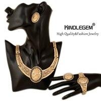 Muhteşem Elizabeth Desen Nijeryalı Düğün Afrika Boncuk Takı Setleri Moda Kadınlar Dubai Altın Renk Kraliçe Para Için Gelin