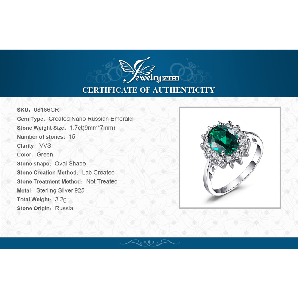 Image 5 - JewPalace Princess Diana Simulated Emerald Ring 925 Sterling Silver Rings for Women Engagement Ring Silver 925 Gemstones Jewelry-in Rings from Jewelry & Accessories