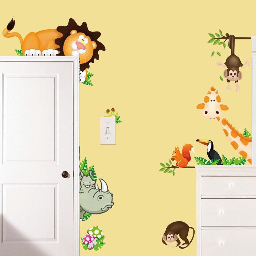 KAKUDER cartoon Wall Sticker Jungle Animal Kids room Baby Nursery ...