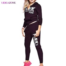UIDEAZONE PINK Letter Print Women 2 Piece Set Zipper Sweatshirtand Skinny Pants Suit Tracksuits Long Sleeve Sportswear Outfit(China)