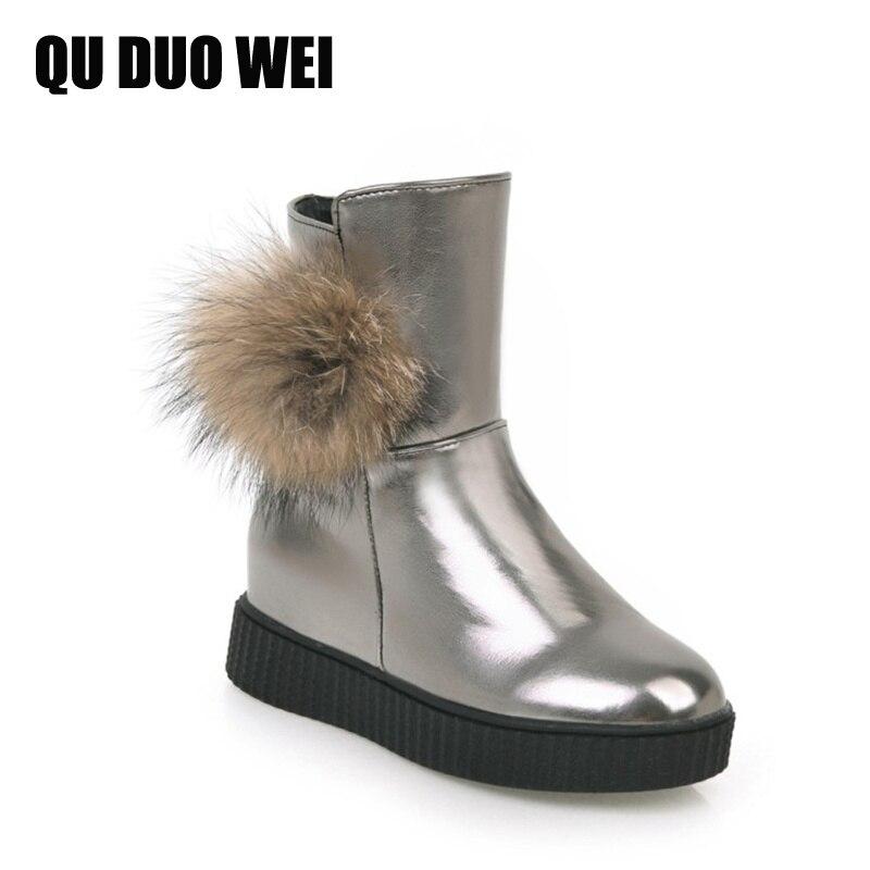 2018 New Shoes Women Snow Boots Designer Ladies Winter Outdoor Keep Warm Fur Boots Waterproof Womens Platform Wedges Shoes