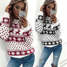 christmas pullover women sweatshirt fashion cartoon deer winter hooides long sleeve casual female sweatshirt casual top цена