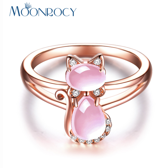 MOONROCY Drop Shipping Rose Gold Color Cute Cat Animal CZ Ross