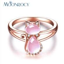 Женские кольца moonrocy розовое золото с розовым опалом милым