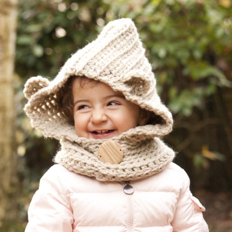 f720817fd2c Handmade cotton newborn Chunky Hooded Children Wolf Cowl Hoodie Cowl Kids  Winter hat Crochet Cowl Hat Kids Crochet Baby Outfits