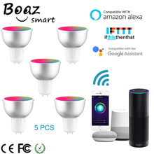 Boaz Smart Wifi GU5.3 Luce Lampadina Intelligente RGBW Colorato Wifi Smart Riflettore Telecomando Vocale Alexa Eco Google Casa IFTT