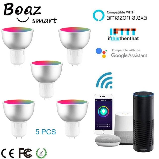 Boaz חכם Wifi GU5.3 אור חכם הנורה RGBW צבעוני Wifi חכם זרקור קול שלט רחוק Alexa הד Google בית IFTT